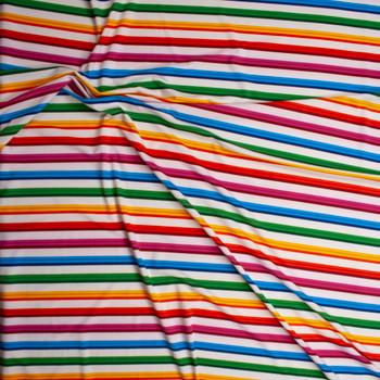 Rainbow Stripe on White Stretch Nylon/Lycra Knit Fabric By The Yard - Wide shot