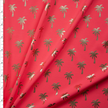 Metallic Gold Palm Trees on Neon Pink Stretch Nylon/Lycra Knit Fabric By The Yard