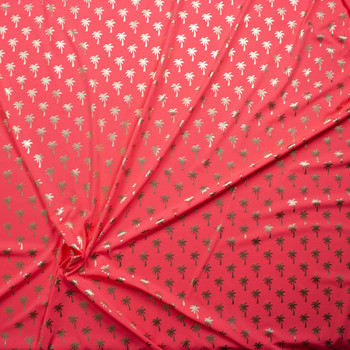 Metallic Gold Palm Trees on Neon Pink Stretch Nylon/Lycra Knit Fabric By The Yard - Wide shot