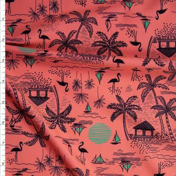 Black and Olive Beach Hut on Bright Peach Stretch Nylon/Lycra Knit Fabric By The Yard