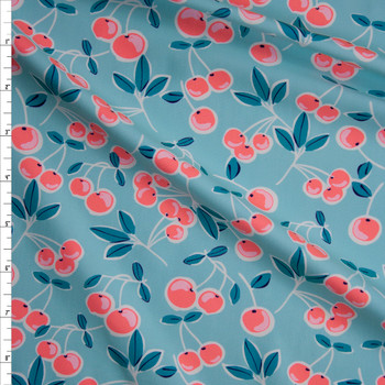 Neon Pink and Teal Cherries on Aqua Stretch Nylon/Lycra Knit Fabric By The Yard