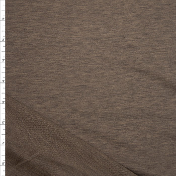 Dark Taupe Heather Stretch Rayon French Terry Fabric By The Yard