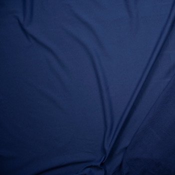 Muted Navy Lightweight Cotton French Terry Fabric By The Yard - Wide shot