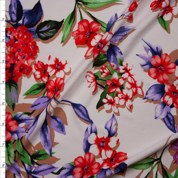 Bright Floral on Offwhite Poly/Spandex Stretch Knit Fabric By The Yard