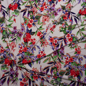 Bright Floral on Offwhite Poly/Spandex Stretch Knit Fabric By The Yard - Wide shot