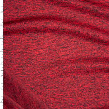 Deep Red Heather Soft Brushed Stretch Sweater Knit Fabric By The Yard