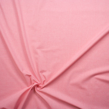 Pink Midweight Cotton Chambray Fabric By The Yard - Wide shot