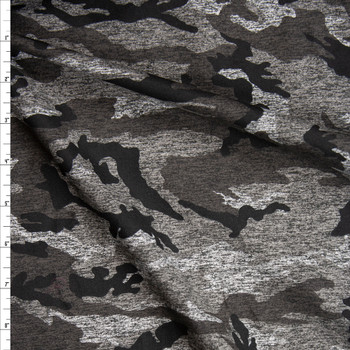 Charcoal Camouflage Brushed Athletic Knit Fabric By The Yard