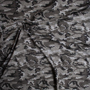 Charcoal Camouflage Brushed Athletic Knit Fabric By The Yard - Wide shot