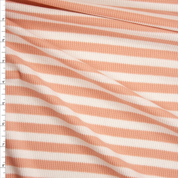 Light Pink and White Stripes Micro Waffle Knit Fabric By The Yard