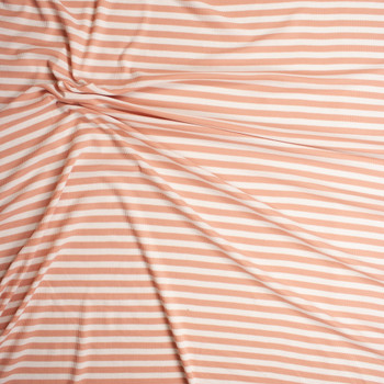 Light Pink and White Stripes Micro Waffle Knit Fabric By The Yard - Wide shot
