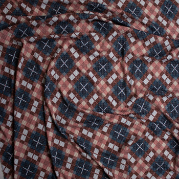 Wine, Navy, Grey, and Tan Diagonal Plaid Soft Waffle Sweater Knit Fabric By The Yard - Wide shot