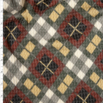 Grey, Burgundy, Tan, and White Diagonal Plaid Soft Waffle Sweater Knit Fabric By The Yard