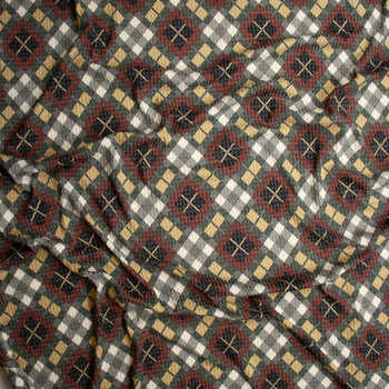 Grey, Burgundy, Tan, and White Diagonal Plaid Soft Waffle Sweater Knit Fabric By The Yard - Wide shot