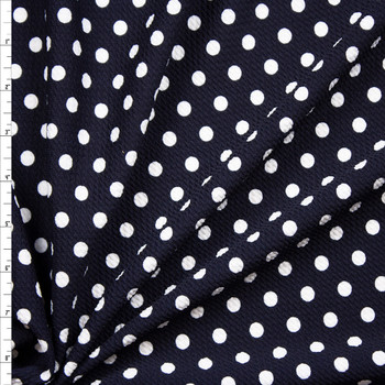 White on Midnight Blue Polka Dot Bullet Liverpool Knit Fabric By The Yard