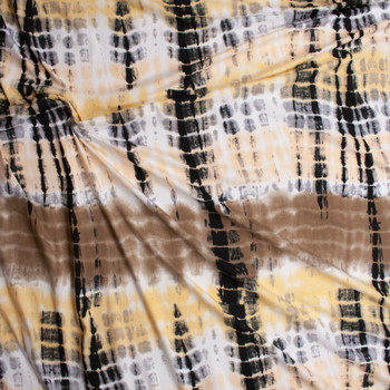 Tan, Ivory, Cream, and White Streaked Tie Dye Double Brushed Poly/Spandex Fabric By The Yard - Wide shot