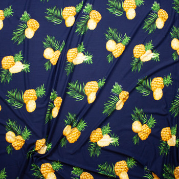 Pineapples on Navy Blue Double Brushed Poly/Spandex Fabric By The Yard - Wide shot