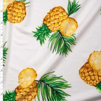 Pineapples on Offwhite Double Brushed Poly/Spandex Fabric By The Yard
