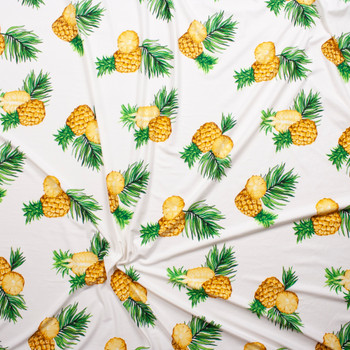 Pineapples on Offwhite Double Brushed Poly/Spandex Fabric By The Yard - Wide shot