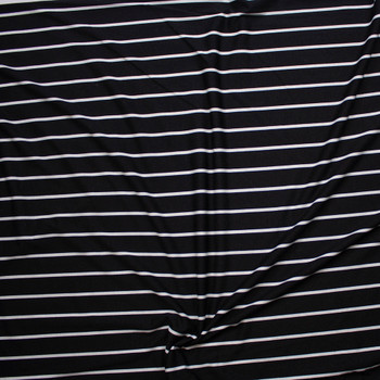 White on Black Vertical Pencil Stripe Poly/Rayon French Terry Fabric By The Yard - Wide shot
