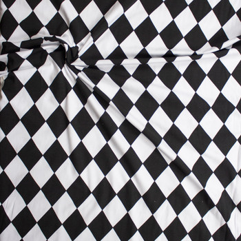 Black and White Harlequin Diamonds Cotton Spandex Knit Fabric By The Yard - Wide shot