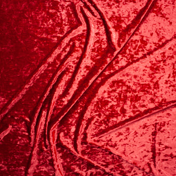 Red Luxury Crushed Stretch Velvet Fabric By The Yard - Wide shot