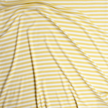 White and Yellow Stripe Rayon Micro Waffle Knit Fabric By The Yard - Wide shot