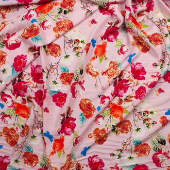 Vibrant Floral on Light Pink Rayon Challis Fabric By The Yard - Wide shot