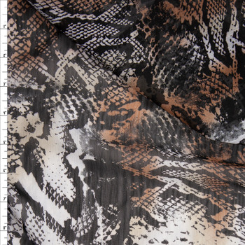 Tan, Ivory, and Black Snakeskin Crinkle Georgette Fabric By The Yard