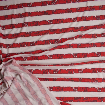 Grunge Red Stripes on Ivory Light Midweight French Terry Fabric By The Yard - Wide shot