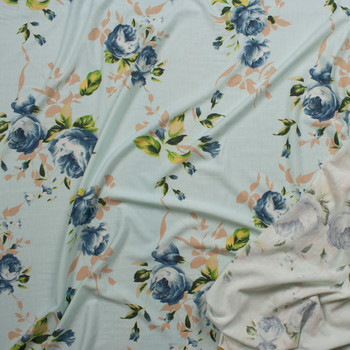 Blue and Tan Floral on Soft Aqua Light Midweight French Terry Fabric By The Yard - Wide shot