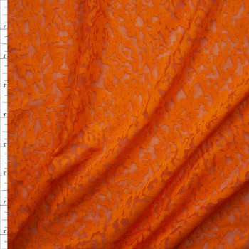 Bright Orange Burnout Jersey Knit Fabric By The Yard