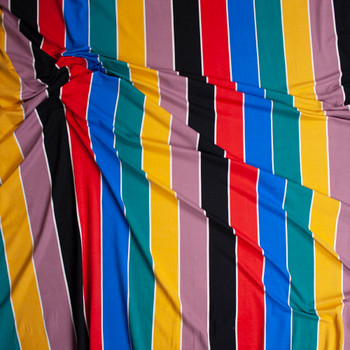 Black, Red, Blue, Jade, Mustard, and Mauve Vertical Stripe Double Brushed Poly Spandex Knit Fabric By The Yard - Wide shot