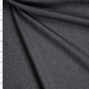 Charcoal Heather Grey Tactel Stretch Sports Knit Fabric By The Yard