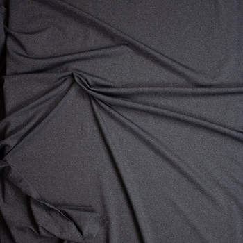 Charcoal Heather Grey Tactel Stretch Sports Knit Fabric By The Yard - Wide shot