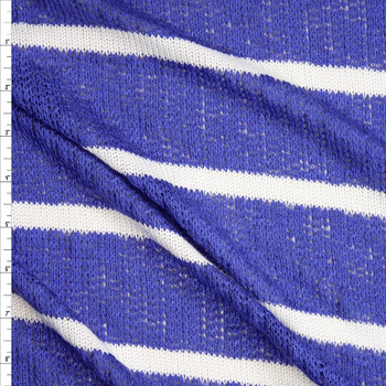 White on Blue Horizontal Stripe Loose Weave Sweater Knit Fabric By The Yard