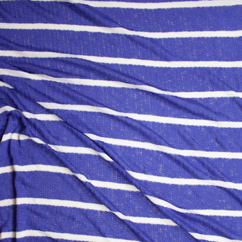 White on Blue Horizontal Stripe Loose Weave Sweater Knit Fabric By The Yard - Wide shot
