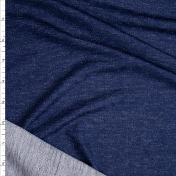 Indigo Blue Denim Look Stretch Rayon French Terry Fabric By The Yard