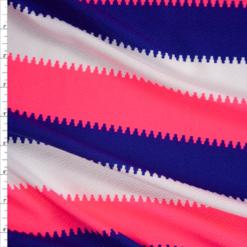 Neon Pink, Royal Blue, and White Crepe Textured Liverpool Knit Fabric By The Yard