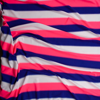 Neon Pink, Royal Blue, and White Crepe Textured Liverpool Knit Fabric By The Yard - Wide shot