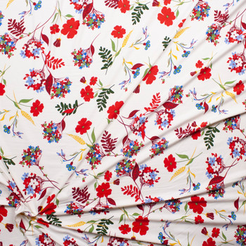 Red, Yellow, Green, and Blue Flowers on Ivory Double Brushed Poly Spandex Knit Fabric By The Yard - Wide shot