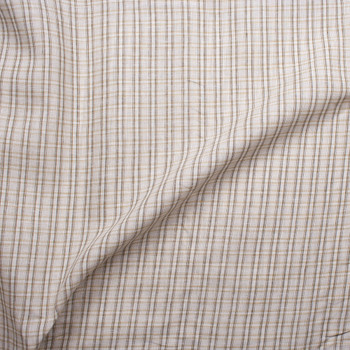 Ivory and Brown Plaid Midweight Linen Fabric By The Yard - Wide shot