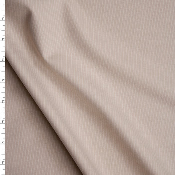 White on Tan Narrow Pinstripe Suiting Fabric By The Yard