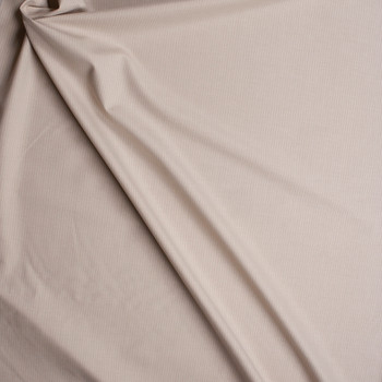 White on Tan Narrow Pinstripe Suiting Fabric By The Yard - Wide shot