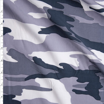 Grey Camouflage Rayon Challis Fabric By The Yard
