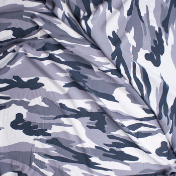 Grey Camouflage Rayon Challis Fabric By The Yard - Wide shot