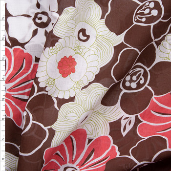 Brown, Red, Avocado, and Warm White Floral Cotton Voile Fabric By The Yard