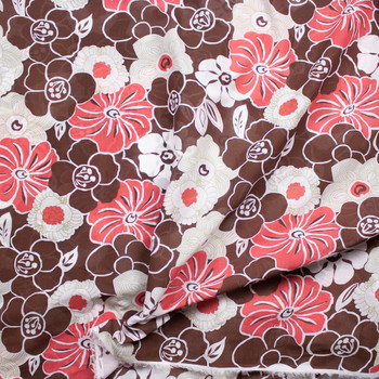 Brown, Red, Avocado, and Warm White Floral Cotton Voile Fabric By The Yard - Wide shot