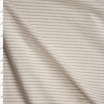 Grey on Ivory Textured Horizontal Stripe Midweight Cotton Jersey Fabric By The Yard