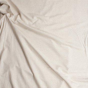 Grey on Ivory Textured Horizontal Stripe Midweight Cotton Jersey Fabric By The Yard - Wide shot